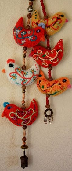 Felted Embroidered Needle Felted Beaded Hanging Birds by mkervin, $56.00