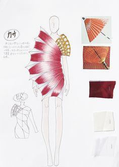 HEP OFC -Original Fashion Contest- 公式サイト Textiles Sketchbook, Fashion Design Sketchbook, Fashion Sketches, Art Sketches, Fashion Themes, Fashion Art, Fashion Figures, Fashion Portfolio, Sketch Design