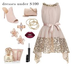 """""""Dresses Under $100"""" by resilient-tophat ❤ liked on Polyvore featuring Monsoon, Halston Heritage, NAKAMOL, LC Lauren Conrad, ABS by Allen Schwartz, Vince Camuto, Lime Crime, MAC Cosmetics, soft and affordable"""
