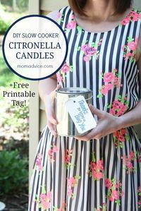 This tutorial shows you how to make DIY Citronella Candles in your slow cooker with essential oils, wicks, wax, and mason jars (or paint cans). Our free printable makes this a great hostess gift for outdoor parties and to keep those bugs away. I can't bel