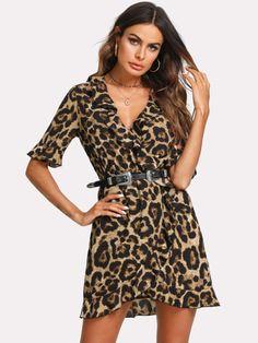 Ruffle Trim Surplice Wrap Leopard Dress New Short Sleeve Sexy Dress Shirt Vacation Dress Latest Dress, New Dress, Romeo Und Julia, Leopard Dress, Cheetah, Vacation Dresses, Pli, Summer Dresses For Women, Ruffle Trim