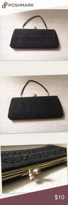 Vintage Clutch Purse Vintage clutch purse with optional handle, sale as is, metal part a little worn  (see pics for accurate reference) still a beautiful clutch. Bags Clutches & Wristlets