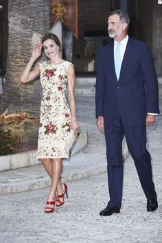 King Felipe VI of Spain, Queen Letizia of Spain and Queen Sofia host a dinner for authorities at the Almudaina Palace on August 4, 2017 in Palma de Mallorca, Spain.