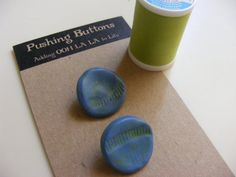 Two French Blues ceramic buttons unique wonky by pushingbuttons