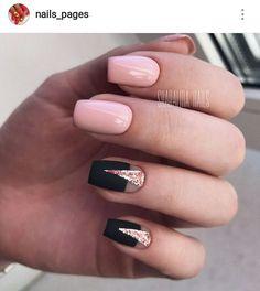 Black and pink nails Fall nails 2017 Fall nails trends Geometric nails Glitter nails Half-moon nails ideas Moon nails 2017 Nails for September 1 Love Nails, Pink Nails, Sparkle Nails, Matte Nails, Nails 2017, Best Nail Art Designs, Short Nail Designs, Pretty Nail Art, Super Nails