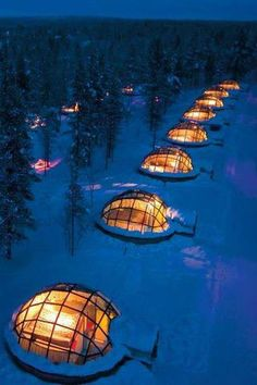 Rent a glass igloo in Finland.