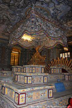 Elaborate interior of Khai Dinh Tomb in Hue, Vietnam
