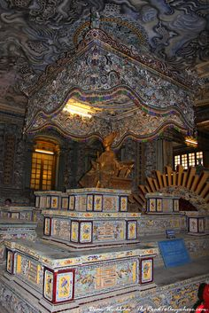 Elaborate interior of Khai Dinh Tomb in Hue, Vietnam