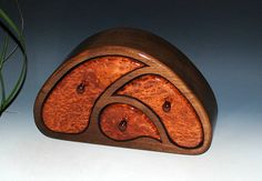 TriOval Style Wooden Jewelry Box - Redwood Burl on Walnut - USA Made by BurlWoodBox - Small Wood Jewelry Box Art Jewelry Box Burl Wood Box by BurlWoodBox