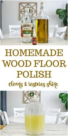 3 Ingredient Homemade Wood Floor Polish Recipe - This DIY wood floor cleaner will restore the natural shine to your wood floors without causing damage. Safe for hardwood and laminate floors. Deep Cleaning Tips, House Cleaning Tips, Natural Cleaning Products, Spring Cleaning, Cleaning Hacks, Diy Hacks, Boat Cleaning, Cleaning Recipes, Diy Wood Floor Cleaner
