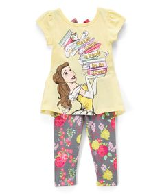 A ruffled chiffon hi-low hem and bow accent further the flair of this top and leggings set that brings princess-worthy glamour to your little one's everyday wear.