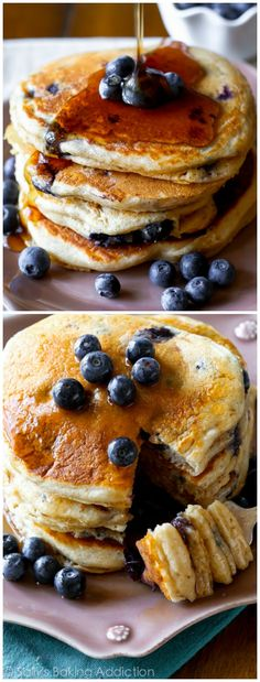 Hands down the BEST Whole Wheat Pancakes I've ever made. And they're completely filled with juicy blueberries!