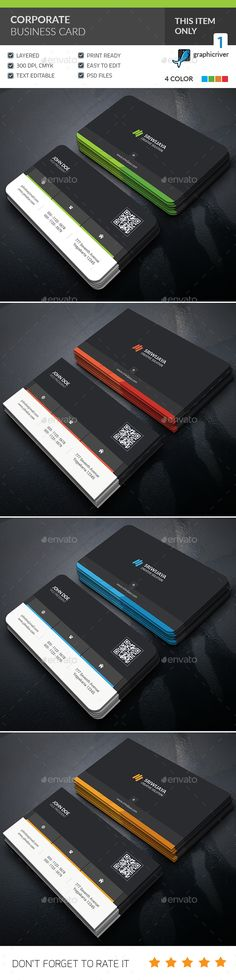 Corporate Business Card — Photoshop PSD #clean #business • Available here → https://graphicriver.net/item/corporate-business-card/15970045?ref=pxcr