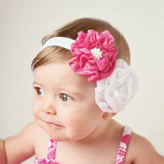 Lace Flower Headband/Hair clip - Hot Pink and White $7.50