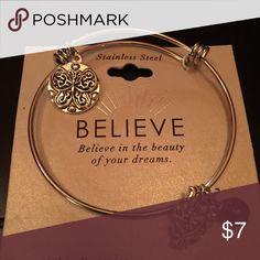 "Expandable silver bracelet with charms ""Believe"" expandable silver bracelet with charms . Will fit any wrist. NWT Jewelry Bracelets"