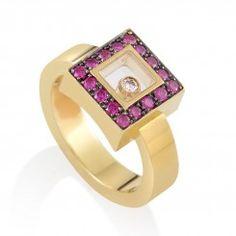 Happy Diamonds 18K Yellow Gold Square Ruby Ring