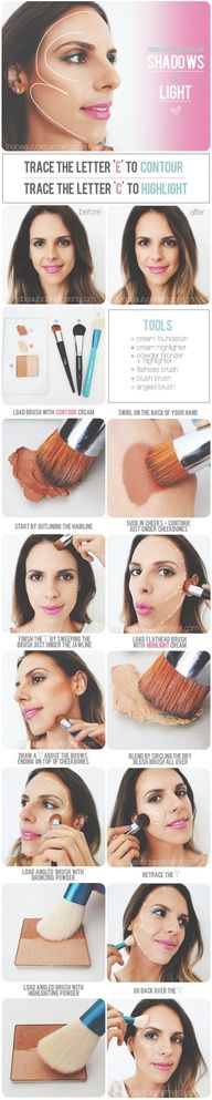 contours, beauty tutorials, contour makeup, makeup tutorials, makeup tricks, face contouring, lip colors, beauti, highlight