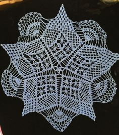 "Sold Vintage Doily Table Topper Hand Crocheted Periwinkle Blue 26"" Unique Star Design"