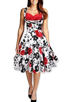 Black Butterfly Aura Classic Serenity 50s Dress White  Red US 18 ** Visit the image link more details.(This is an Amazon affiliate link and I receive a commission for the sales)