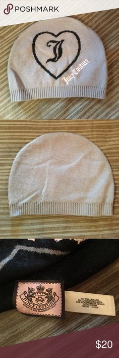 Authentic Juicy Couture beanie Worn once. I'd rather the hats that fold at the bottom. Grey winter hat, has a heart around a J in black & says Juicy Couture in pink. Juicy Couture Accessories Hats