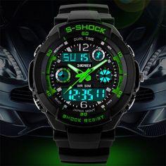 2016 Мужчин Кварцевые Цифровые Часы Мужчины Спортивные Часы Relógio Masculino SKMEI S Шок Relojes LED Военная Водонепроницаемый Наручные Часы