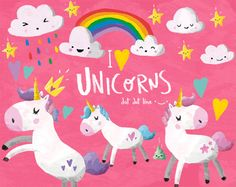Unicorns Clipart Set INSTANT DOWNLOAD Unicorns by DotDotLineStudio