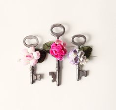 Vintage key boutonniere, Wedding Button holes, Skeleton key pins, floral via Etsy