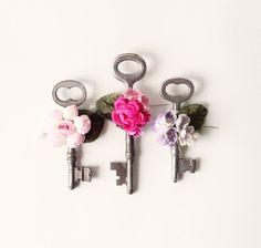 Vintage key boutonniere, Wedding Button holes, Skeleton key pins, floral via Etsy