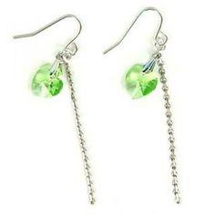 Just Love Earrings with Green Swarovski Crystal