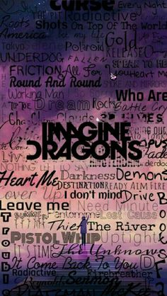 Imagine Dragons logo with the titles of all their songs