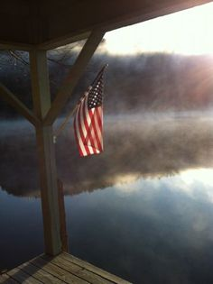 Old Glory Description: Cool fall morning on Fairfield Lake. Flag made in China. I Love America, God Bless America, America America, A Lovely Journey, Sea To Shining Sea, Autumn Morning, Let Freedom Ring, Home Of The Brave, Land Of The Free