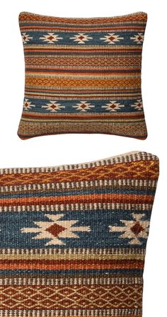 Delicate designs, hand-woven in a hearty wool, entwine in this showpiece pillow. Opulent shades of blues, rust and ecru are enfolded into detail after detail—like an heirloom camp blanket in every corn...  Find the Lodge Pillow Cover, as seen in the The Vintage Mercantile Collection at http://dotandbo.com/collections/the-vintage-mercantile?utm_source=pinterest&utm_medium=organic&db_sku=117006