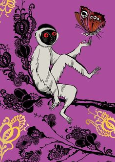 Lemur and butterfly - Beast Wishes Greeting Card - Lush Designs