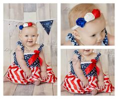 bbdd353d3 SET-Red White & Blue Of July Dress and Headband-Flag-Stars Stripes-Chevron-Baby  Girl Outfit-Newborn-Infant-Child-Clothes-Fourth Of July