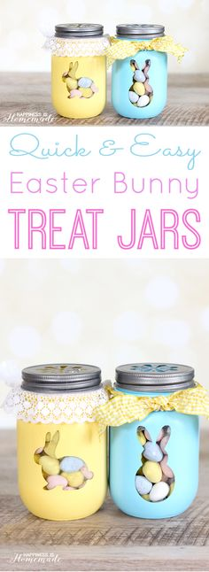 Quick & Easy Easter Bunny Treat Jars - a fun and simple Easter craft idea! Cute Easter home decor project! : Quick & Easy Easter Bunny Treat Jars - a fun and simple Easter craft idea! Cute Easter home decor project! Easy Easter Crafts, Easter Projects, Easter Ideas, Bunny Crafts, Diy Projects, Easter Party, Easter Gift, Easter Decor, Easter Food