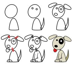 how to draw cartoon puppies - Cartoon Drawings Of Kids