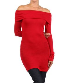 This Red Off-Shoulder Tunic is perfect! #zulilyfinds