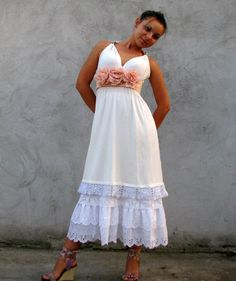 Weddings  Dresses Romantic dress combined of vintage by kovale, $128.00
