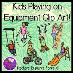 Kids playing on equipment clip art - color & black line. Product includes: • girl on climbing wall • boy swinging on rings • girl on slide • boy on bike • girl skipping with a rope • boy on a swing