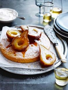 Polenta Cake with Doused Pears