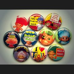 Troll Lover vintage retro toy doll pinback button set by Yesware11 on Etsy!