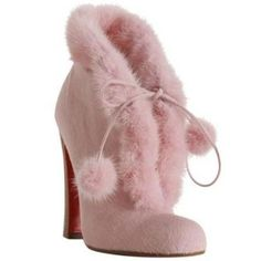 Christian Louboutin Pink Calf Hair 'Mouflette' Ankle Boots
