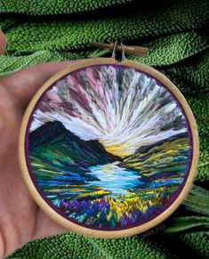 Hand embroidery patterns free - Billowing Clouds and RainbowHued Sunsets Created With Textured Embroidery Thread by Vera Shimunia – Hand embroidery patterns free