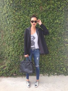 Jamie Chung wearing Reese + Riley Vixen hooded blazer AG Adriano Goldschmied The Legging Ankle Jeans Kate Spade Saturday Leather Oxfords in Metallic Silver Kate Spade Saturday The A Satchel in Black Brogues Womens Outfit, Brogues Outfit, Oxford Shoes Outfit, Tennis Shoes Outfit, Outfit Jeans, Silver Brogues, Silver Flats, Metallic Oxfords, Feminine Fashion