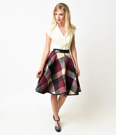 1950s Purple & Cream Tartan Circle Skirt