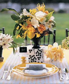 Yellow and Black Wedding Centerpiece