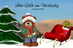 Liebe Grüße zum Nikolaustag. Postkarte mit Djabbi Teddy zum Nikolaus.