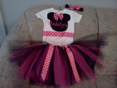 Minnie Mouse Costume Tutu Onesie Set by mariasmommydesigns on Etsy, $29.99