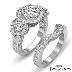 3 Stone Pave Round Diamond Bridal Set Engagement Ring EGL E VS1 Platinum 2 77 Ct | eBay