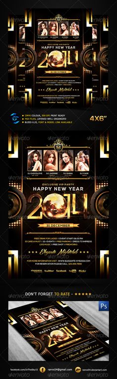 New Year 2014 Flyer Template, download .PSD now here only $6 :
